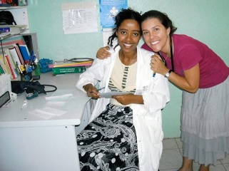 Allyson with MuluAlem at the clinic.