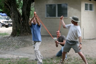 Bryan and Shane had a blast shooting mangos at baboons with the water balloon launcher.
