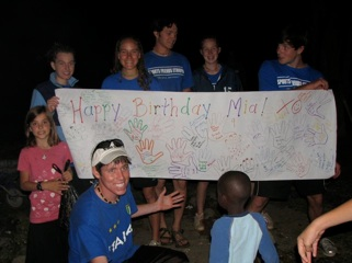 Mia had a great 9th birthday... we surprised her by taking her to Sabana Lodge about an hour away. Then that night the summer team surprised her with a big birthday poster and cake.