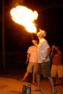 Shane showing off his newly-learned missionary talent - fire breathing!