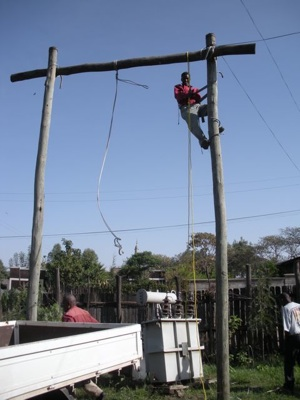 They had to build a pulley system to load the transformer onto the truck because it was so heavy.