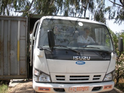 Shane driving through the container – a VERY tight fit!