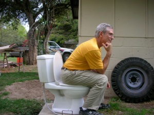 Bill taking a break on our toilet that had to be out of service for 2 days while the bathroom was being tiled - we only have one bathroom! Thank goodness we have kind neighbors. :-)